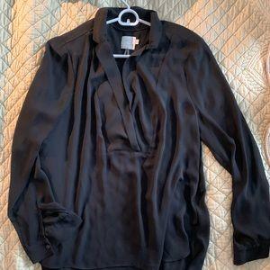 Anthropologie black, silk blouse. Size 14